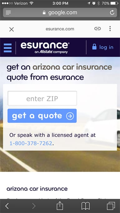 esurance google amp mobile site example