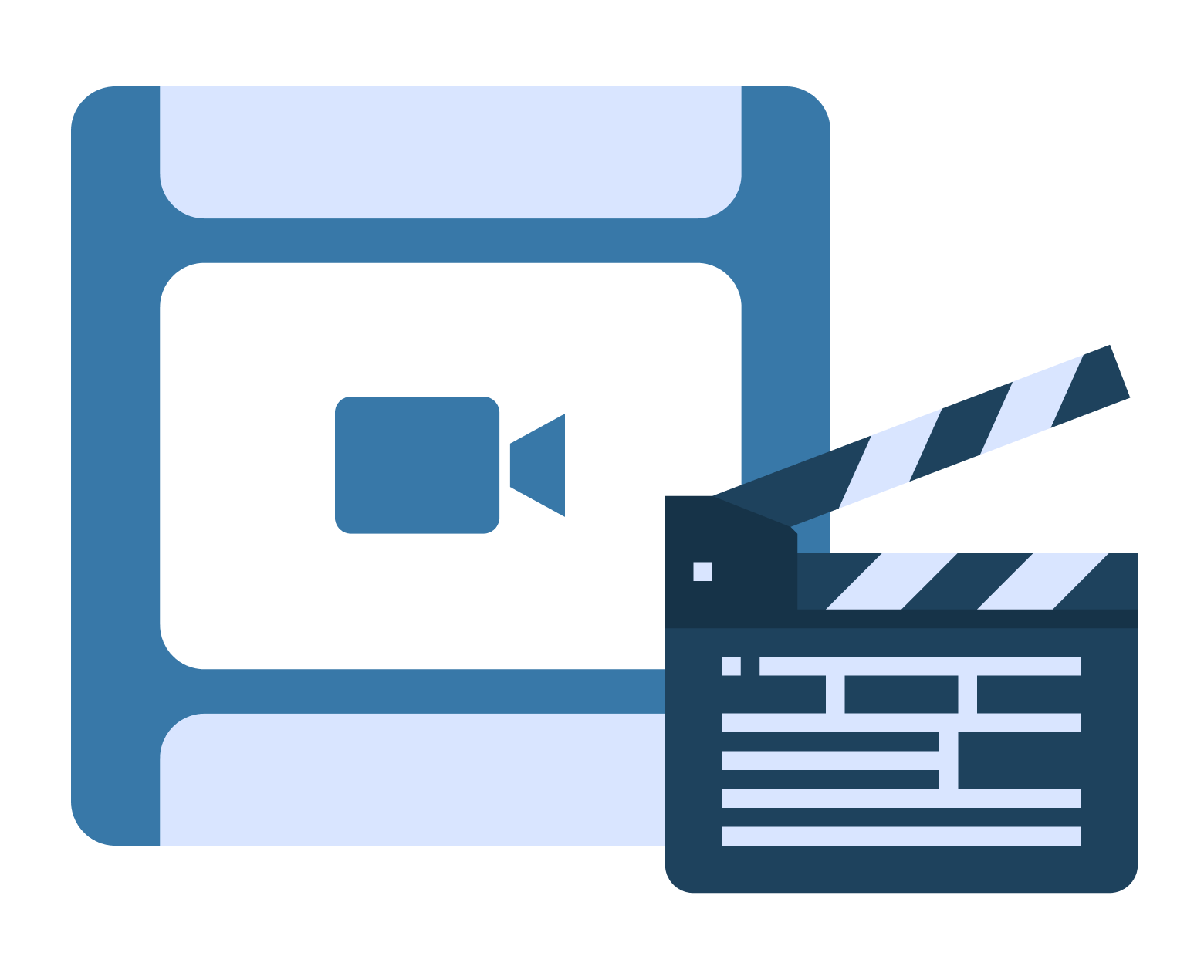 Slate board with video film roll