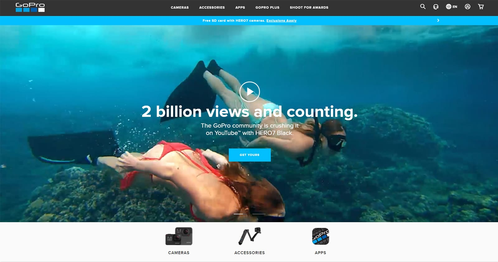 Engaging homepage video example by GoPro