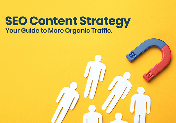 SEO content strategy infographic with magnets pulling in organic traffic.