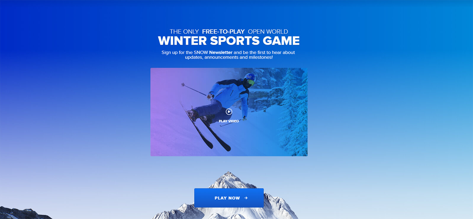 Homepage video example of Snow: The Game